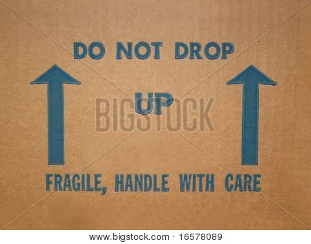 Side of a cardboard box with instructions