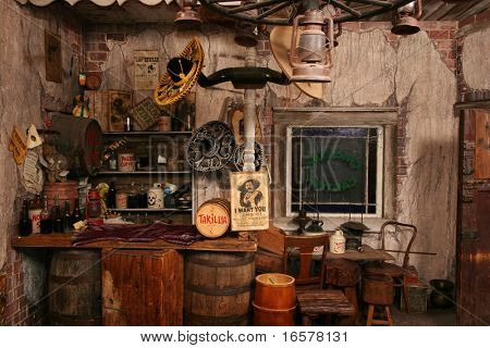 Inside of a replica of a wild west saloon