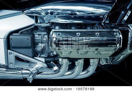 brand new motorcycle engine on a big chopper bike