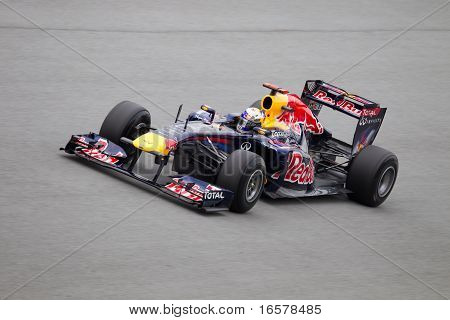 Sebastian Vettel on a high speed straight