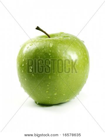 Juicy green apple isolated on white in studio - XXL file with selective focus