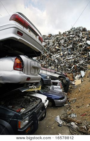 Massive pile of scrap metal and cars to be demolished