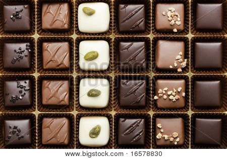 Handmade luxury chocolate in a box - shot in studio