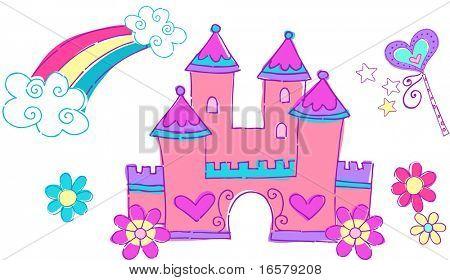 Princess Castle Vector Illustration