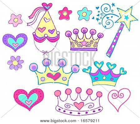 Sombreros de princesa & Tiara Vector Illustration