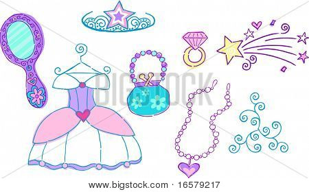 Princess Dress Up Vector Illustration