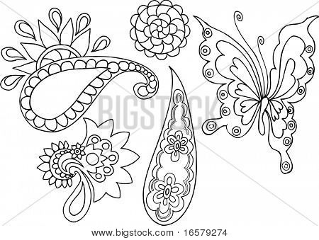 Butterfly & Paisley Vector Elements