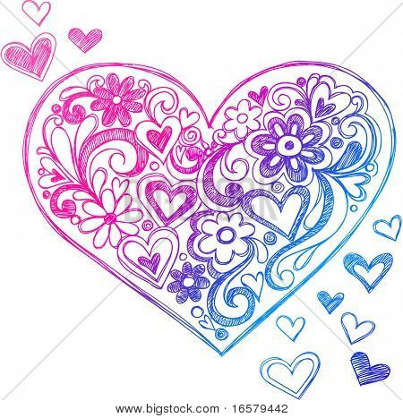 Corazón de Doodle incompletos y remolinos Vector Illustration