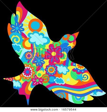 Dove Silhouette Filled with Psychedelic Shapes Vector Illustration