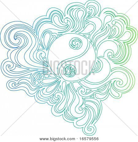 Outline Yin Yang Peace Sign on Swirls Vector Illustration