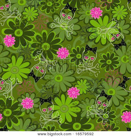 Girly Punk Skulls on Flower Camo background Seamless Repeat Pattern Vector Illustration
