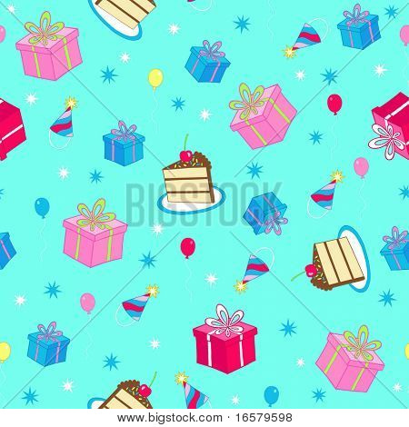 Happy Birthday Cake and Presents Seamless Repeat Pattern Vector Illustration