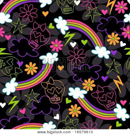Girly Punk Skulls and Rainbows Seamless Repeat Pattern Vector Illustration