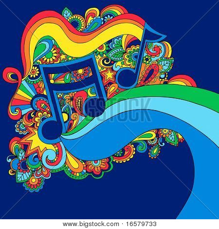 Psychedelic Groovy Vector Music Notes Illustration