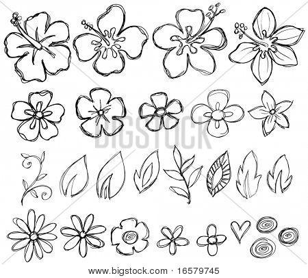 Sketchy Doodle Tropical Vector Illustration
