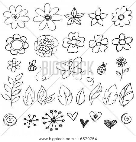 Sketchy Doodle Flowers Vector Illustration