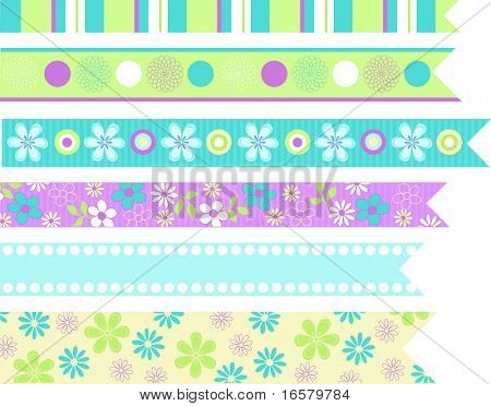 Cute Ribbons Stationary Embellishments Vector Illustration