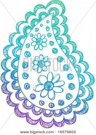 Sketchy Doodle Henna Paisley Vector Illustration