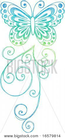 Hand-Drawn Sketchy Doodle Butterfly Vector Illustration