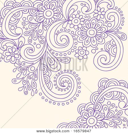 Hand-Drawn Doodle Abstract Henna Paisley Vector