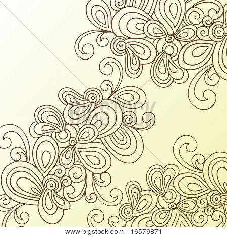 Handgetekende Abstract Swirls Doodle Henna Vector
