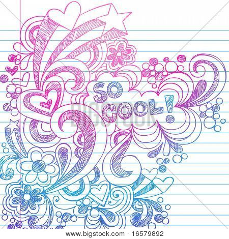 Hand Drawn incompletos garabatos en Vector de papel de cuaderno forrado