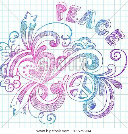 Hand-Drawn Groovy Sketchy Doodles on Grid Notebook Paper Vector