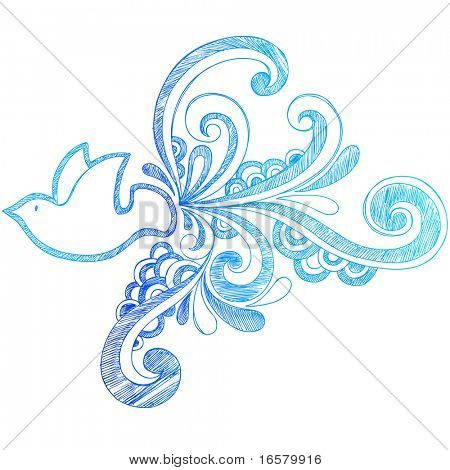 Hand-Drawn Sketchy Peace Dove Doodle and Swirls Vector