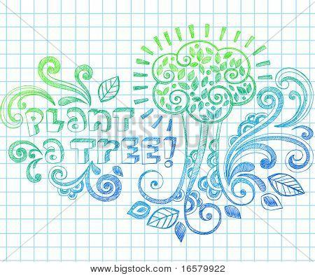 Plante uma árvore Arbor Day desenho esboçado Notebook Doodles ilustração vetorial