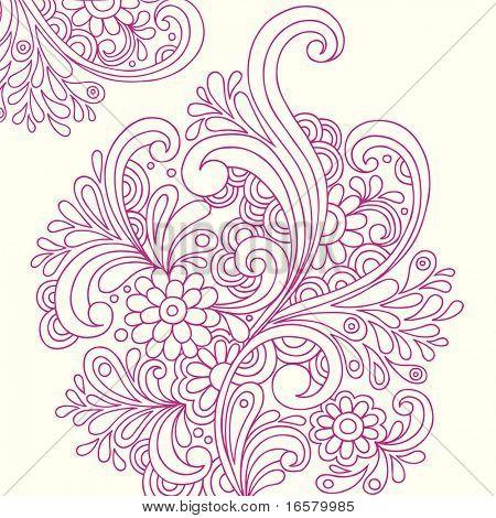 Handgetekende abstracte Henna Paisley Doodles en bloemen vectorillustratie