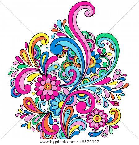 Doodle psicodélico Paisley abstracto con flores y remolinos - Vector Illustration