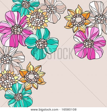Groovy Psychedelic Doodle Flowers Vector Illustration
