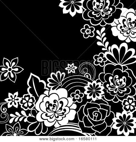 Groovy Psychedelic Black and White Doodle Flower Garden- Vector Illustration
