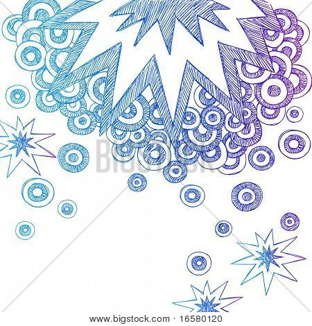 Hand-Drawn Abstract Sketchy Notebook Doodle Starburst and Semi-Circles Vector Illustration