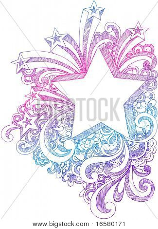 Hand-Drawn Sketchy Notebook Doodle Starburst and 3-Dimensional Shooting Stars Vector Illustration