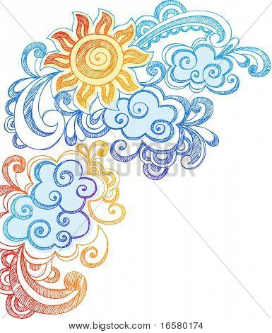 Sunny Summer Sky Hand-Drawn Sketchy Notebook Doodles Vector Illustration