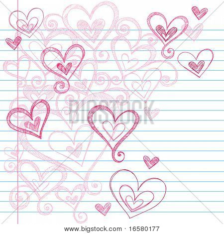 Hand-Drawn Valentine's Day Love Hearts Sketchy Notebook Doodles on Lined Paper Vector Illustration
