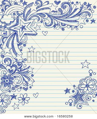 Garabatos de Notebook estrellas tridimensionales incompletos dibujado a mano en papel rayado Vector Illustration