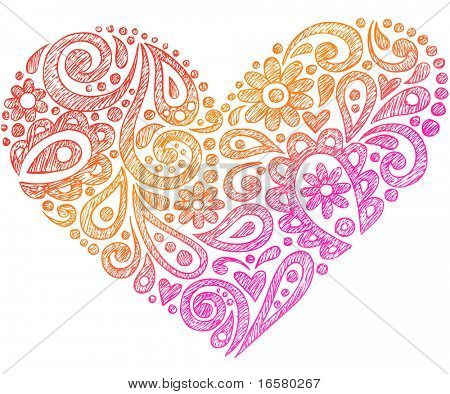 Hand-Drawn Paisley Henna Heart Shapes Sketchy Doodle Vector Illustration