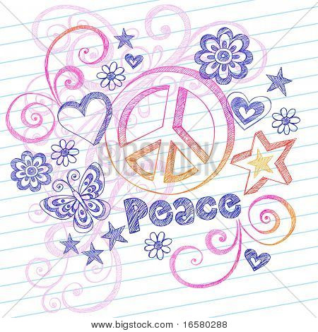 Hand-Drawn Sketchy Peace Sign Doodles with Butterfly, Hearts, Stars, and Lettering on Lined Notebook Paper Vector Illustration