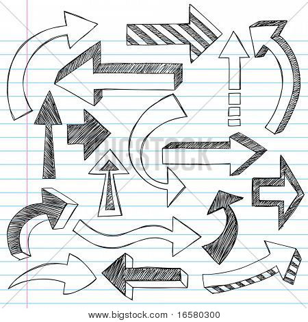 Hand-Drawn Sketchy Direction Arrow Notebook Doodles Vector Illustration