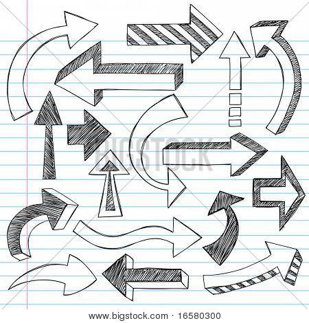 Mão-extraídas esboçado direção seta Notebook Doodles ilustração vetorial