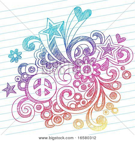 Hand-Drawn Abstract Sketchy Notebook Doodles with Peace Sign, Stars, and Hearts on Lined Notebook Paper Background- Vector Illustration