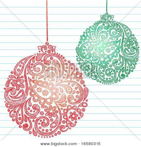 Hand-Drawn Sketchy Doodle Henna Paisley Pattern Christmas Ornaments on Lined Notebook Paper- Vector Illustration