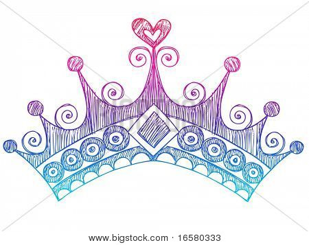 Hand-Drawn Sketchy Royalty Princess Tiara Crown Notebook Doodles Vector Illustration