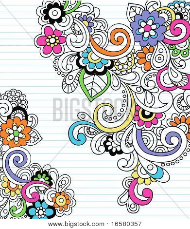 Hand-Drawn Psychedelic Paisley Notebook Doodles on Lined Paper Background- Vector Illustration