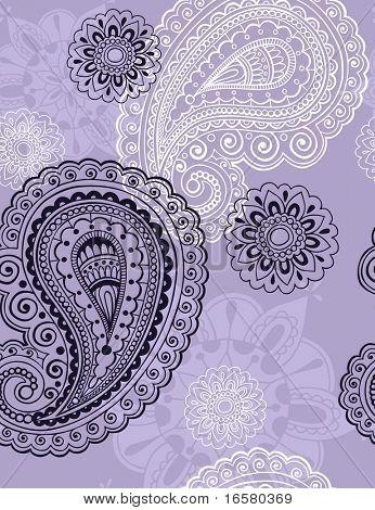 Naadloze herhalen patroon-handgetekende ingewikkelde Henna Paisley Doodle Vector Illustratie Wallpaper