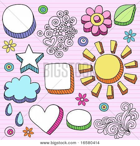 Hand-Drawn Psychedelic Notebook Doodles Frame Borders on Lined Paper Background- Vector Illustration