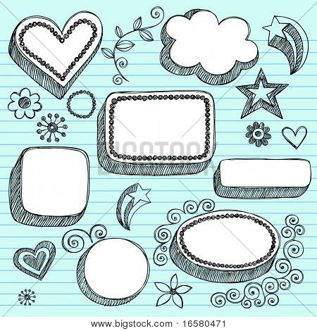 Hand-Drawn Sketchy 3-D Shaped Frames Notebook Doodles on Lined Paper Background- Vector Illustration