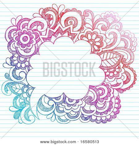 Notebook incompleto Hand Drawn Doodles Paisley discurso cómico burbuja elementos de diseño en papel rayado Backg
